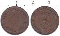 Изображение Монеты Третий Рейх 1 пфенниг 1937 Бронза XF G. Орел со свастикой