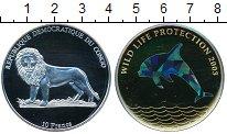 Изображение Монеты Конго 10 франков 2003 Серебро Proof- Голограмма,Дельфин,л