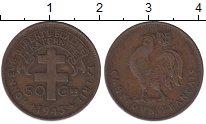 Изображение Монеты Камерун 50 сантим 1943 Бронза XF Петух