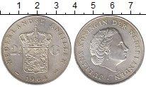 Изображение Монеты Антильские острова 2 1/2 гульдена 1964 Серебро UNC-