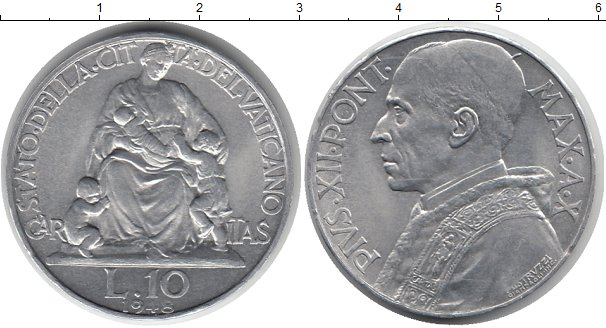 Картинка Монеты Ватикан 10 лир Алюминий 1948