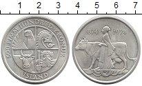 Изображение Монеты Исландия 500 крон 1974 Серебро UNC- Женщина с коровой
