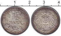 Изображение Монеты Германия 1/2 марки 1916 Серебро XF+
