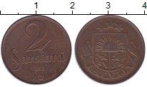 Изображение Монеты Латвия 2 сантима 1922 Бронза XF