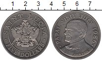 Изображение Монеты Сент-Люсия 5 долларов 1986 Медно-никель UNC-