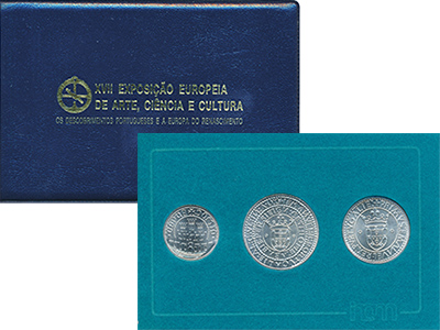 Изображение Подарочные монеты Португалия XVII Европейская художественная выставка 1983 Серебро UNC- Набор из трех монет
