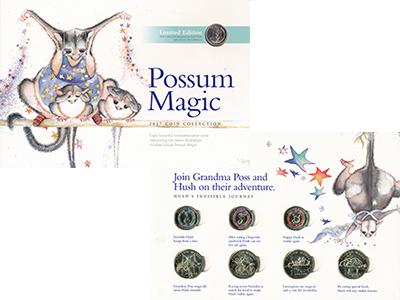 Изображение Подарочные монеты Австралия Волшебный опоссум 2017  UNC `В набор входят восе
