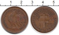 Монета Французская Экваториальная Африка 1 франк Бронза 1943 XF