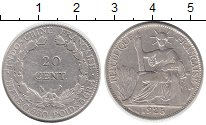 Монета Индокитай 20 центов Серебро 1925 XF- фото