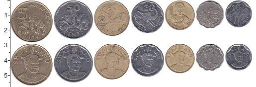Изображение Наборы монет Свазиленд 5 эмалангени 2015  XF- В наборе 7 монет ном