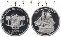 Изображение Монеты Кот-д`Ивуар 1000 франков 2008 Серебро Proof `Парусник ``Баунти``