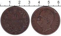 Изображение Монеты Италия 10 сентесим 1894 Бронза VF Умберто I