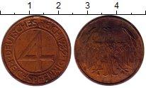 Изображение Монеты Веймарская республика 4 пфеннига 1932 Медь XF E