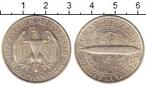 Изображение Монеты Веймарская республика 3 марки 1930 Серебро XF `Дирижабль ``Граф Ци