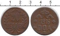 Изображение Монеты Германия Немецкая Африка 20 геллеров 1916 Бронза XF-