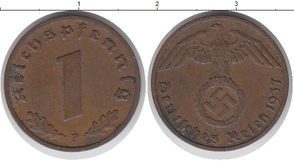 Картинка Монеты Третий Рейх 1 пфенниг Бронза 1937