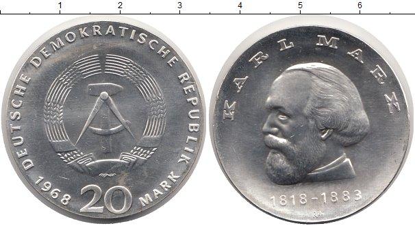 Картинка Монеты ГДР 20 марок Серебро 1968