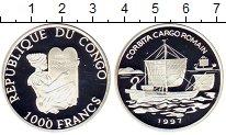 Изображение Монеты Конго 1.000 франков 1997 Серебро Proof Древнеримское торгов