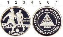 Изображение Монеты Никарагуа 10000 кордобас 1990 Серебро Proof-