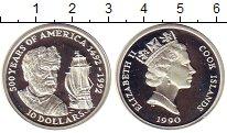 Изображение Монеты Острова Кука 10 долларов 1990 Серебро Proof 500 лет открытия Аме