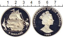 Изображение Монеты Багамские острова 5 долларов 1993 Серебро Proof Корабль