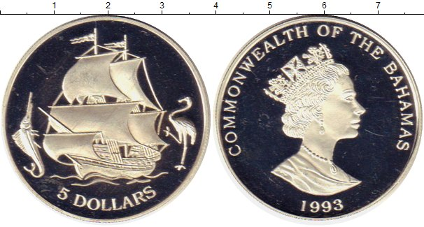 Картинка Монеты Багамские острова 5 долларов Серебро 1993