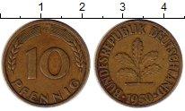 Изображение Монеты ФРГ 10 пфеннигов 1950 Латунь XF Флора