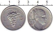 Изображение Монеты Италия 5 лир 1950 Алюминий XF Гроздь винограда
