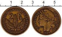 Изображение Монеты Камерун 2 франка 1924 Латунь XF- Флора