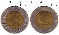 Изображение Монеты Финляндия 10 марок 1993 Биметалл XF Глухарь