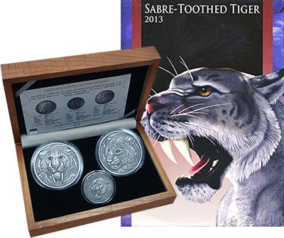 Изображение Подарочные монеты Буркина Фасо Смилодон 2013 Серебро UNC Набор из из двух мон