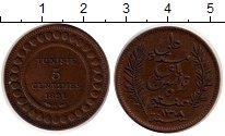 Изображение Монеты Тунис 5 сентим 1891 Бронза XF+ Арабская вязь