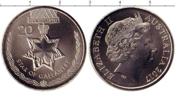 Картинка Монеты Австралия 20 центов Медно-никель 2017