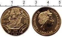 Изображение Монеты Австралия 1 доллар 2018 Латунь UNC Год Собаки