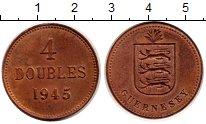 Изображение Монеты Гернси 4 дубля 1945 Медь XF Герб с тремя львами