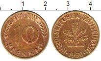 Изображение Монеты ФРГ 10 пфеннигов 1950 Латунь XF- F. Дубовая ветвь