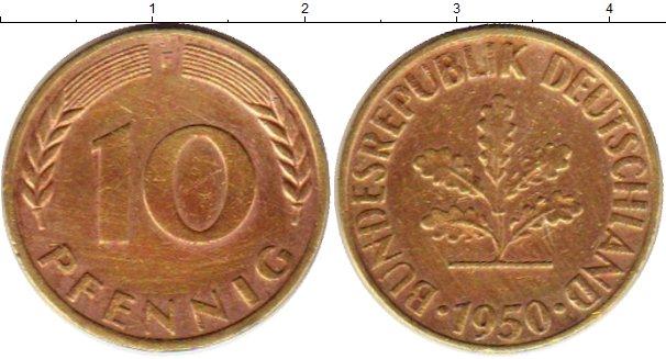 Картинка Монеты ФРГ 10 пфеннигов Латунь 1950