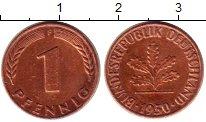Изображение Монеты ФРГ 1 пфенниг 1950 Бронза XF- F. Дубовая ветвь