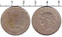 Изображение Монеты Гваделупа 1 франк 1921 Медно-никель XF