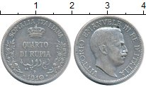 Изображение Монеты Сомали 1/4 рупии 1910 Серебро XF- Итальянская колония.
