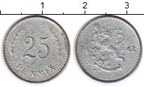 Изображение Монеты Финляндия 25 пенни 1943 Железо XF-