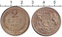 Изображение Монеты Латвия 2 лата 1925 Серебро XF Первая республика