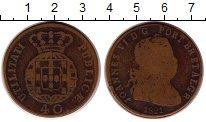 Изображение Монеты Португалия 40 рейс 1821 Медь VF