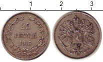 Изображение Монеты 1894 – 1917 Николай II 25 пенни 1913 Серебро XF