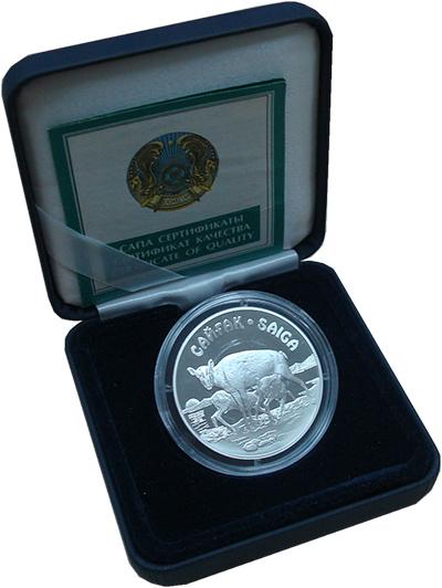 Изображение Подарочные монеты Казахстан Сайга 2001 Серебро Proof