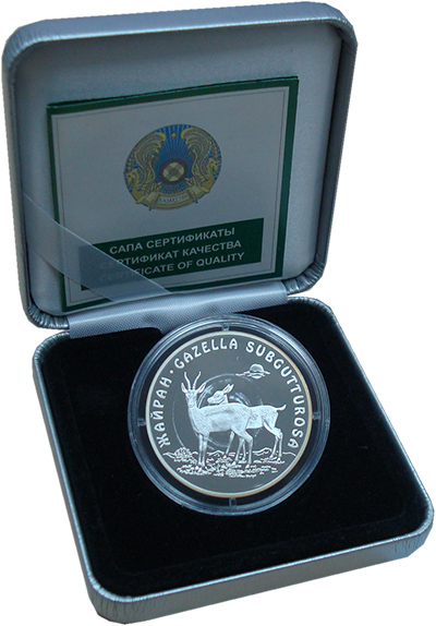 Изображение Подарочные монеты Казахстан Джейран 2005 Серебро Proof Монета номиналом 500
