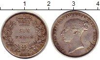 Изображение Монеты Великобритания 6 пенсов 1855 Серебро XF Виктория.
