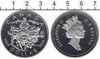 Изображение Монеты Канада 1 доллар 1994 Серебро Proof Собачья упряжка.