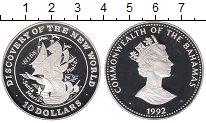 Изображение Монеты Багамские острова 10 долларов 1992 Серебро Proof Открытие Америки.Кар