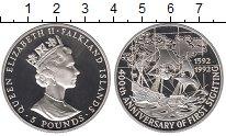 Изображение Монеты Фолклендские острова 5 фунтов 1992 Серебро Proof 400 - летие открытия